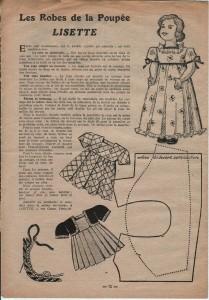 patron robe de poupée dans Lisette