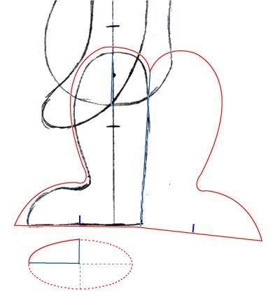 Construction du patron des jambes du nounours Ulysse